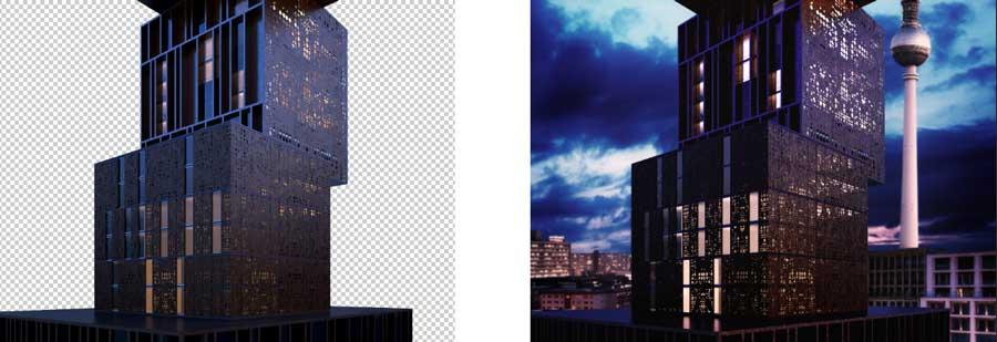 cielo en photoshop edifico